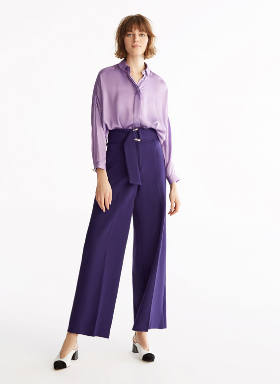 Purple skirt-style palazzo trousers
