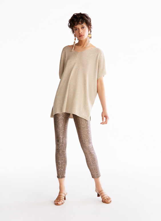Snakeskin-effect trousers