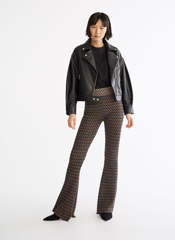 Multicoloured herringbone trousers