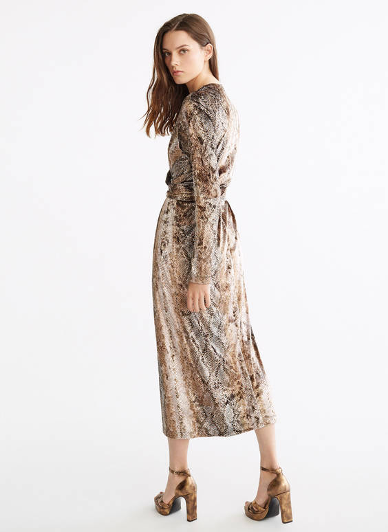 Faux snakeskin velvet dress
