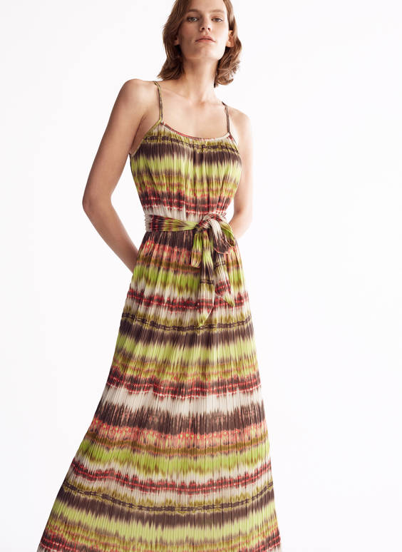 Pleated dress with straps