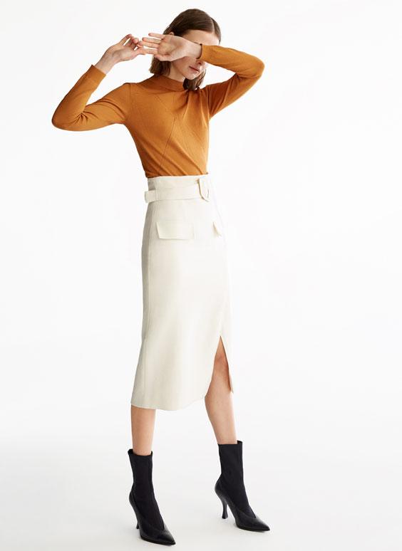 系腰带铅笔半身裙