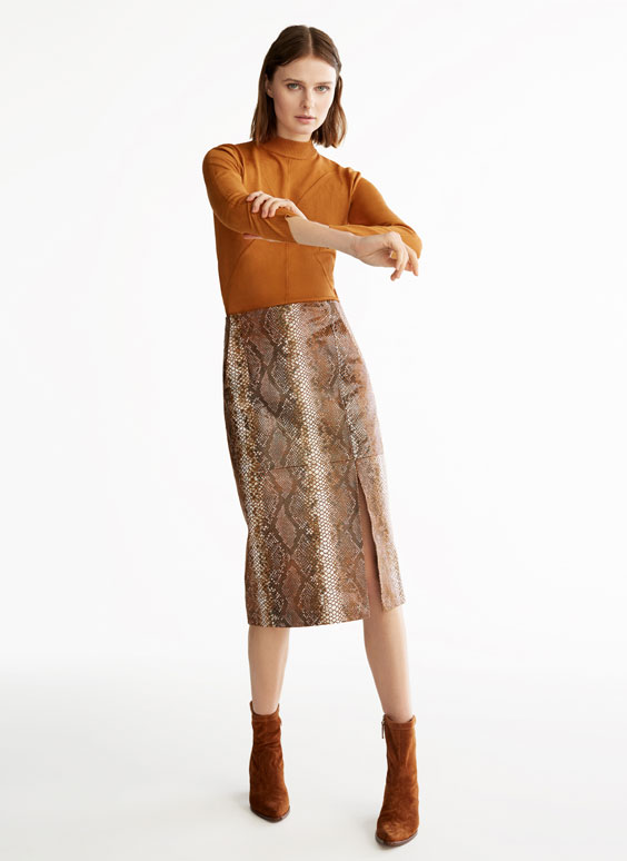 Faux snakeskin leather skirt