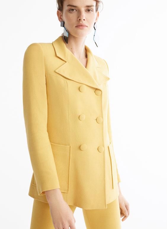 淡彩色合身西装外套