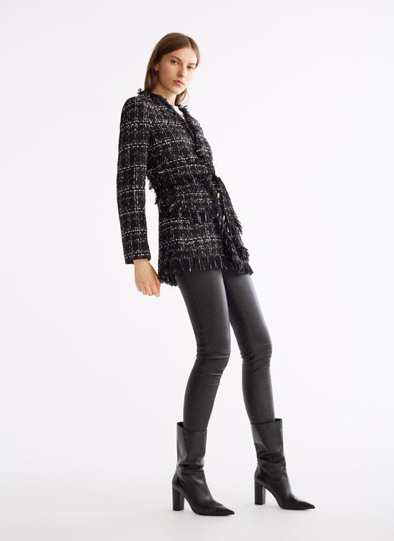 Veste de tailleur noire en tweed