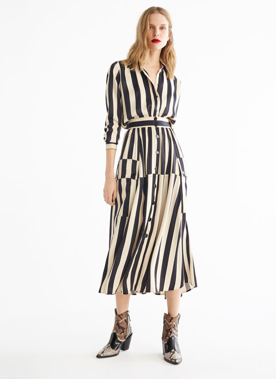 Striped cargo skirt
