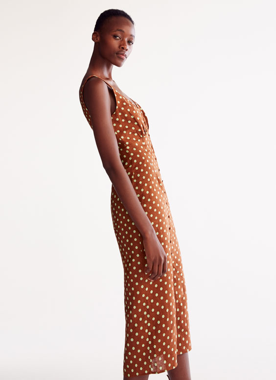 Brown polka dot linen dress