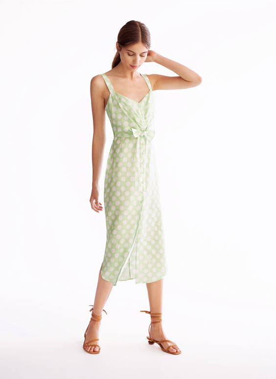 Green polka dot linen dress