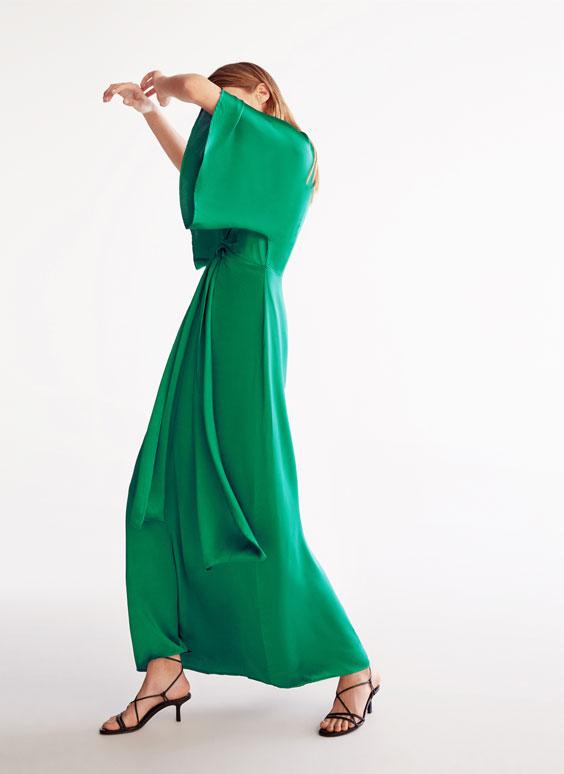 Robe froncée verte