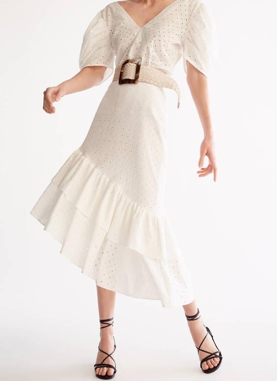 Falda bordado perforado