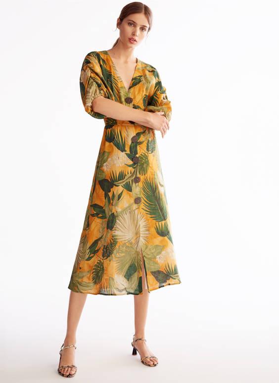 Leinenkleid mit Blätterprint