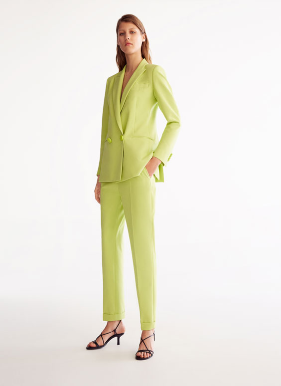 Lime green wrap-front blazer