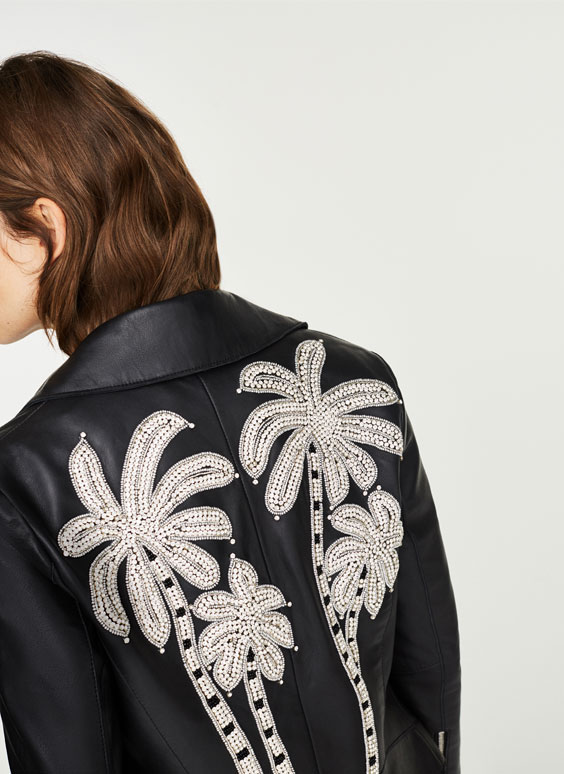 Leather biker jacket with bejewelled palm trees
