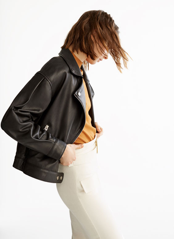 Puff sleeve leather jacket