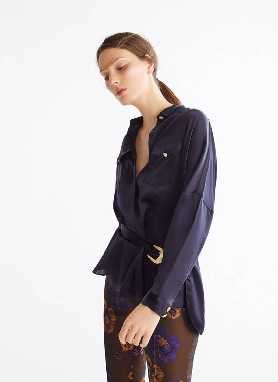 Midnight blue silk oversized blouse