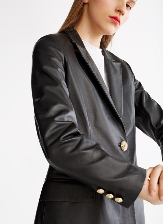 Tailored leather blazer