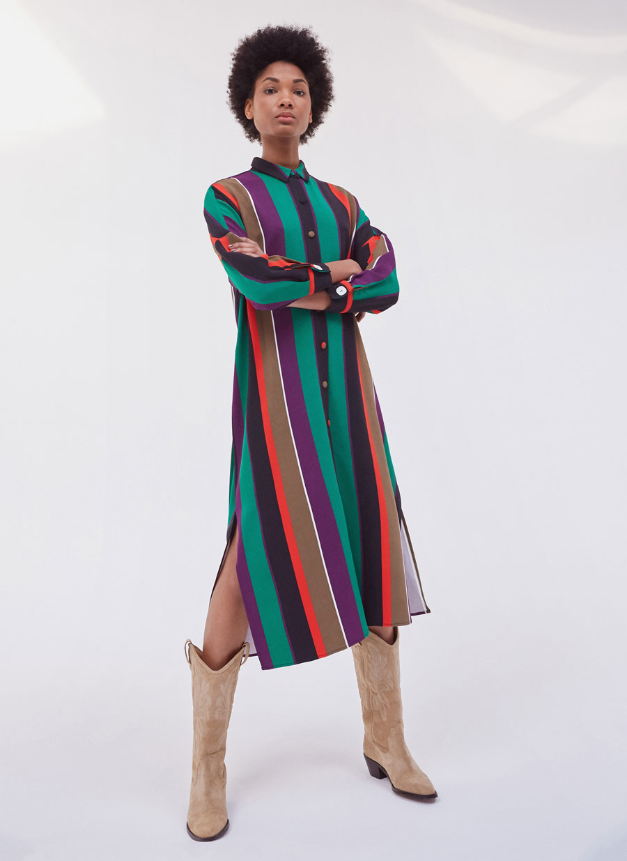 43be63c8d3b4 Μακρύ φόρεμα με ριγέ σχέδιο - Φορέματα και Ολόσωμες φόρμες - Κολεξιον -  Uterqüe Greece