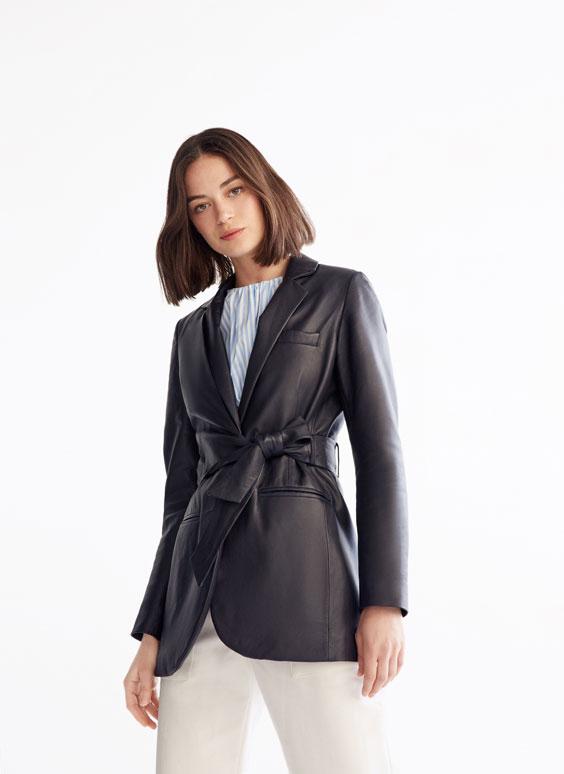 Veste de tailleur cuir ruban