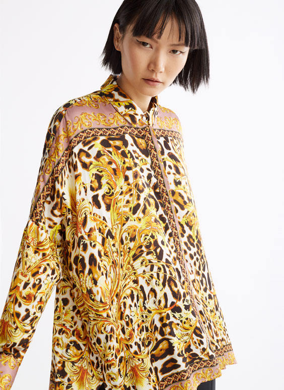 Leopard print and chain detail shirt