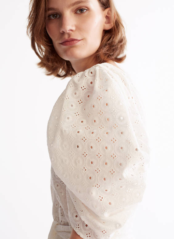 Shirt with cutwork embroidery