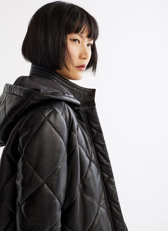 Quilted nappa leather coat
