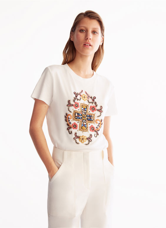 T-shirt with rhinestone cross