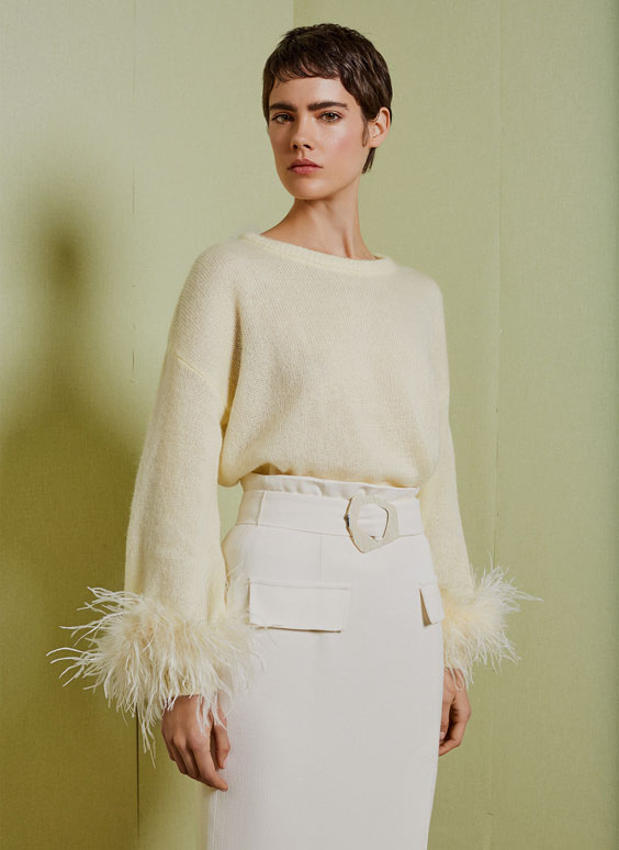 Pastel feather-trimmed sweater
