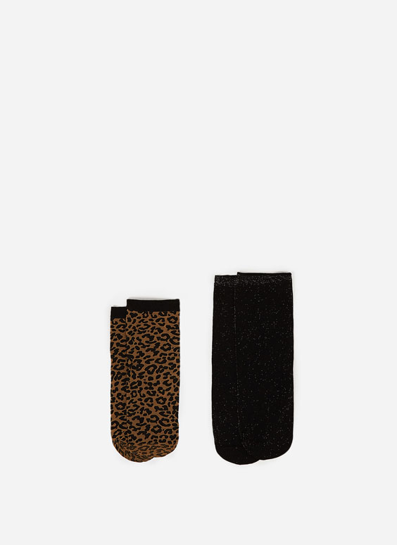 Pack of leopard print and metallic thread socks