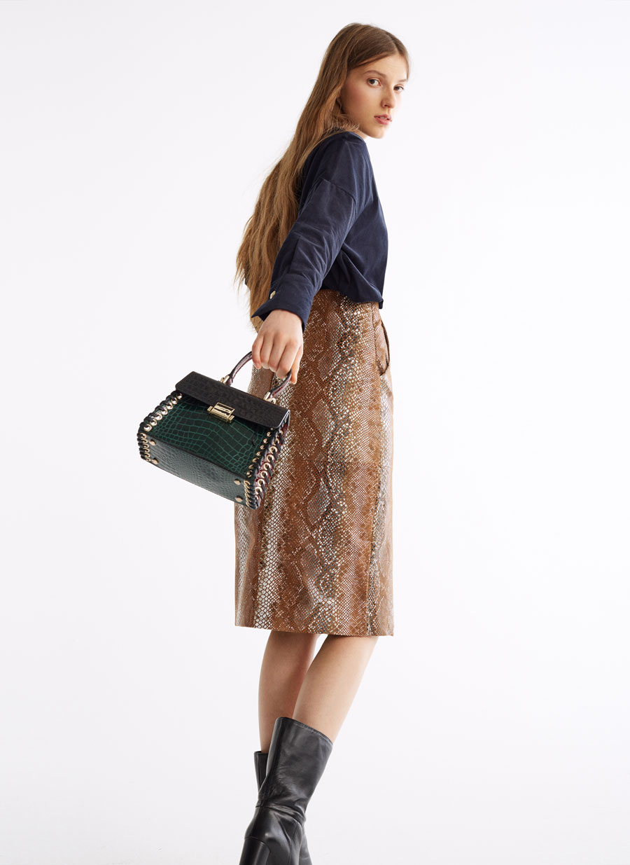 Mock Croc Small City Bag With Eyelets by Uterqüe