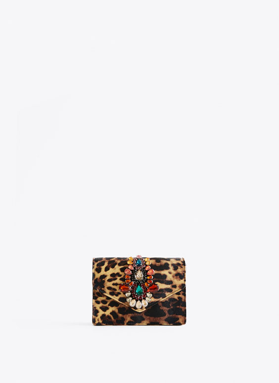 Leopard print bag with gems