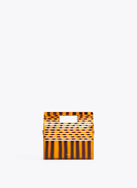 Striped rectangular minaudière