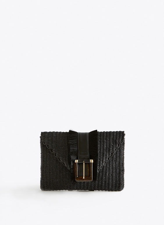 Clutch handbag with buckle