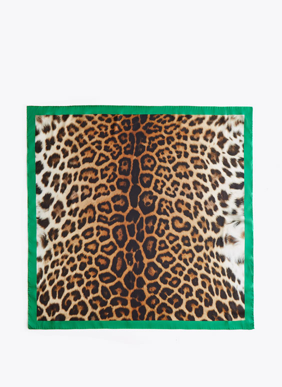 Green and leopard print scarf