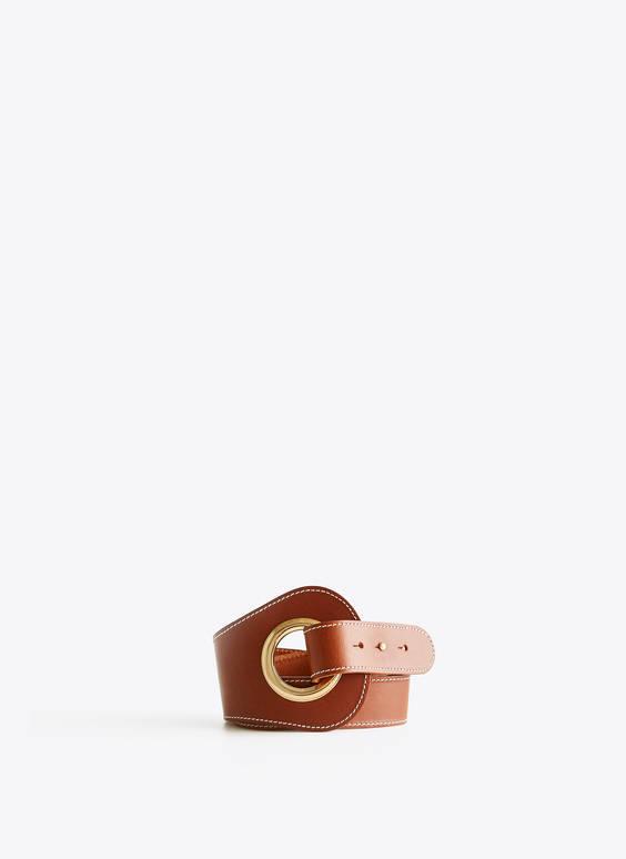 Cinturón piel pespuntes