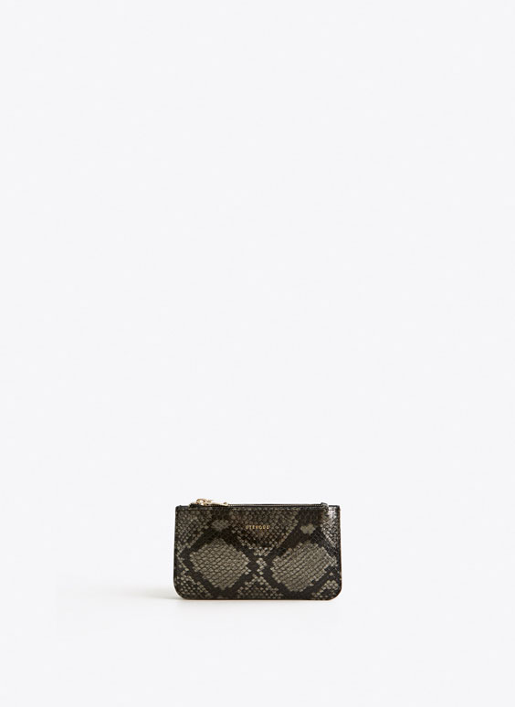 Snakeskin-effect double zip coin purse
