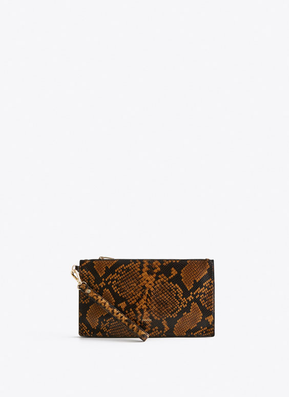 Snakeskin-effect clutch bag