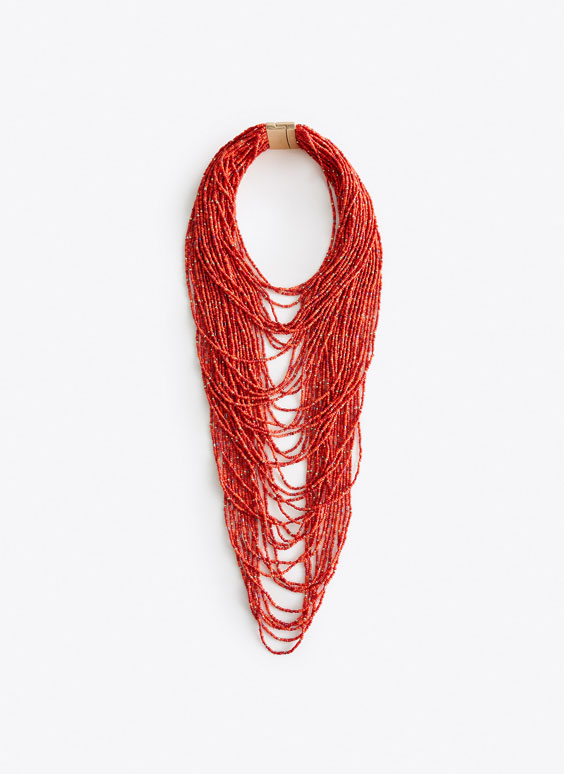 Collier multi-rangs orange