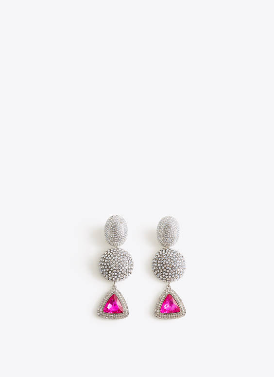 White bejewelled earrings