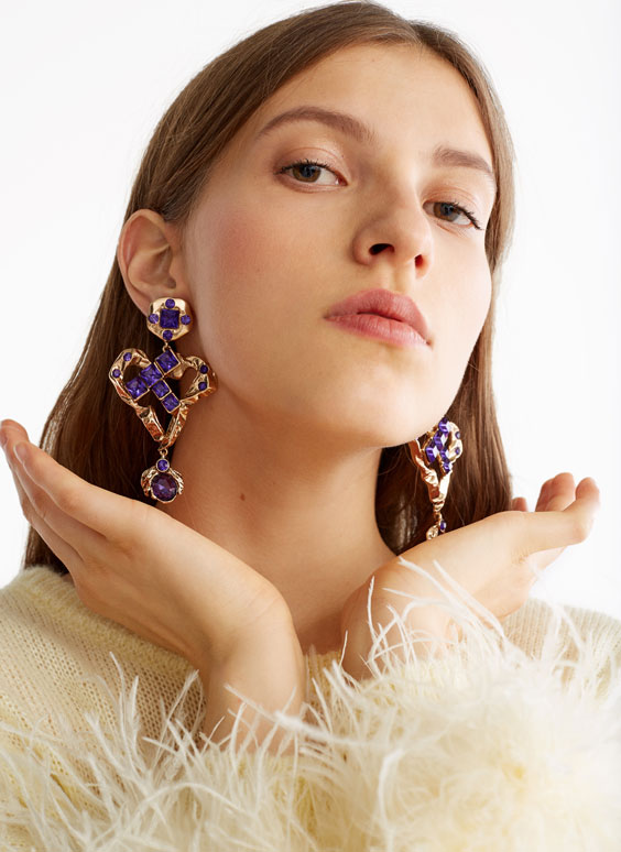 Purple bejewelled earrings