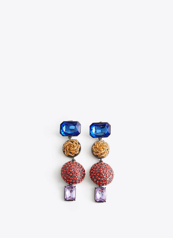 Earrings with four colourful shapes