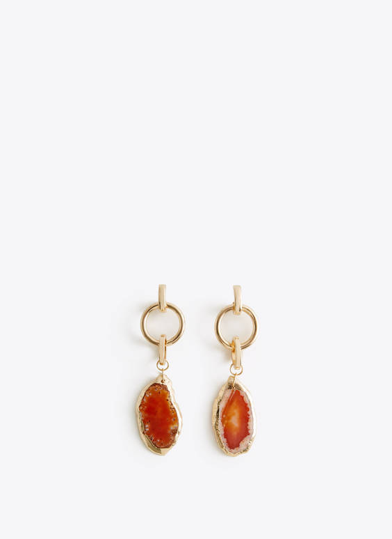 Camel agate earrings