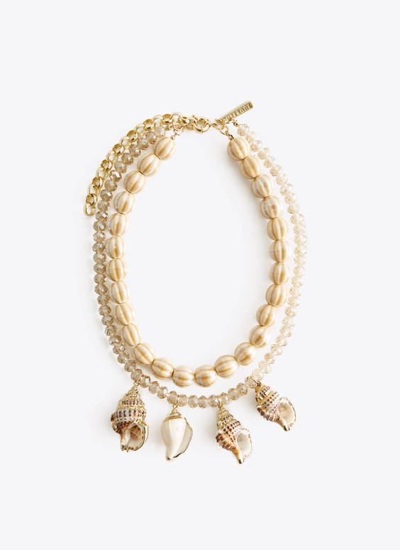 Conch and bead necklace