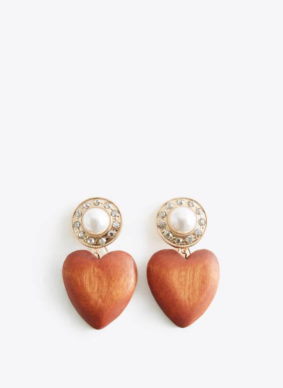 Boucles d'oreilles cœur en bois