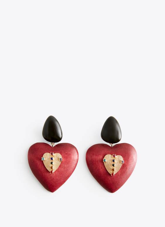 心形人造宝石耳环