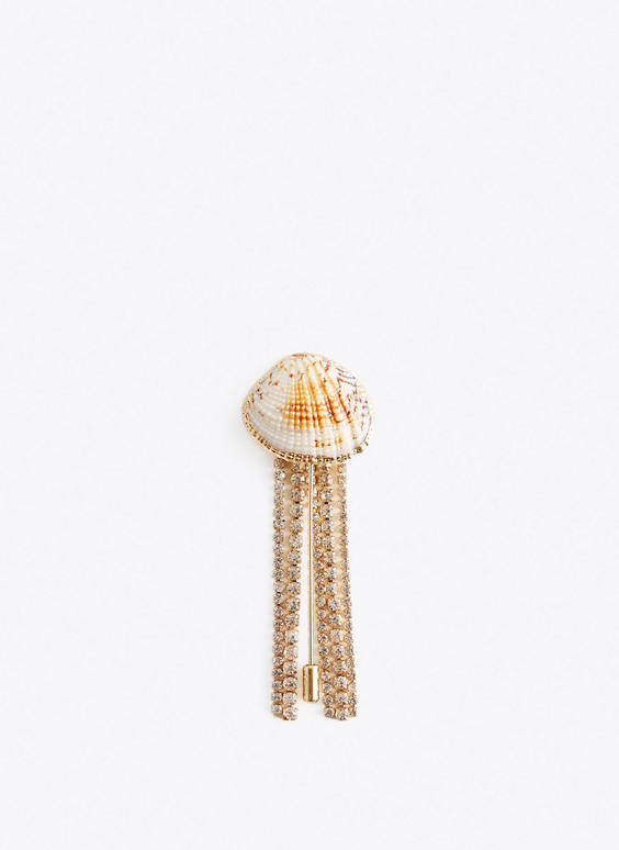 Shell brooch with rhinestones