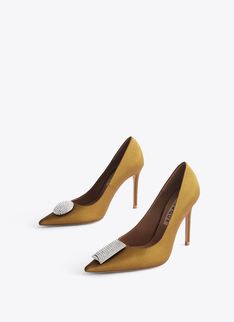 0b63d09d15 Bejewelled mustard yellow satin high heel court shoes - - Uterqüe  Netherlands