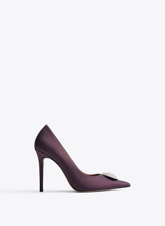 Bejewelled purple satin high heel court shoes