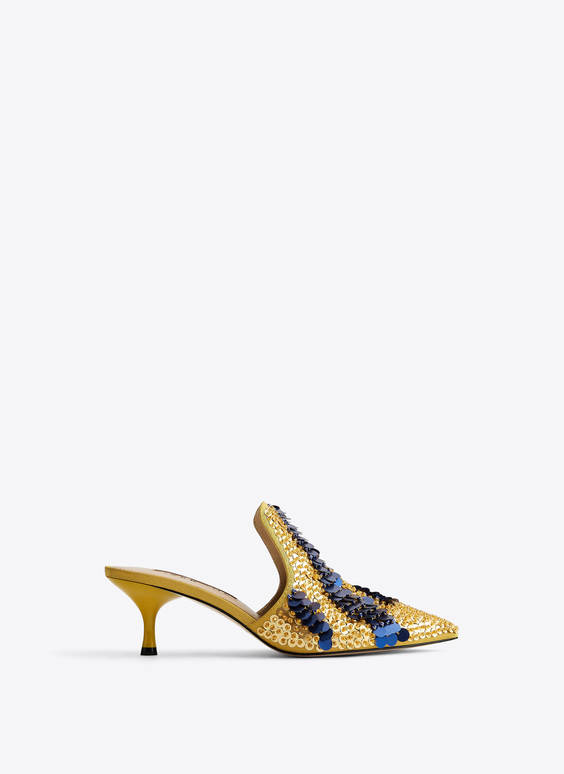 Sequinned mules