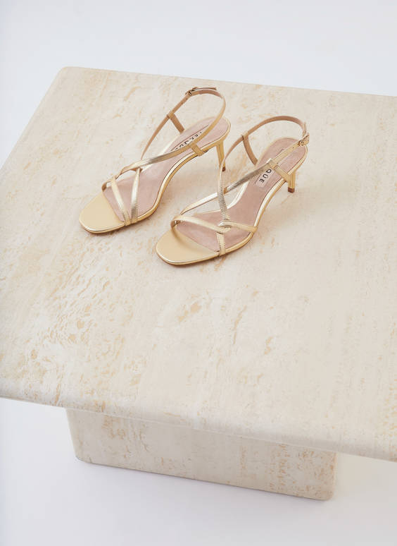 Gold leather strap mid heel sandals