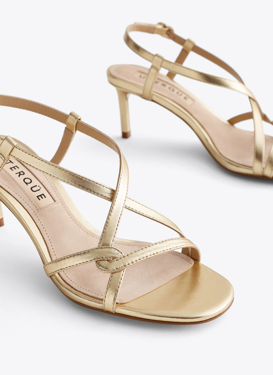 8893946f933 Gold leather strap mid heel sandals - Night Out - EVENTS - Uterqüe ...